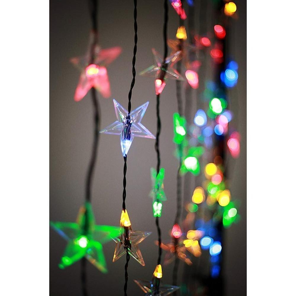 App gesteuerter LED Sternen-Lichtervorhang 1x1,5m 60er warmweiß / bunt SA153