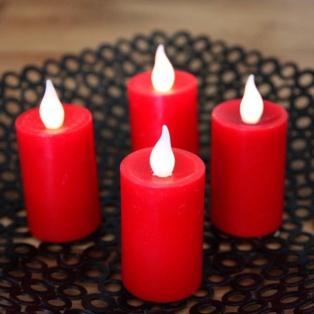 LED Echtwachskerzen 4er Set rot Fernbedienung 003-24