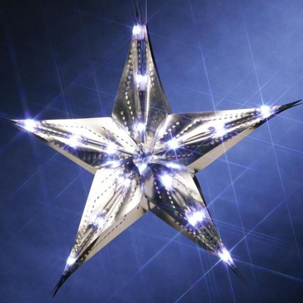 LED Weihnachtsstern silber 10 LED 35cm Batteriebetrieb 003-59