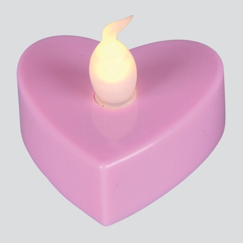 LED-Teelicht 3 Stück Teelichter Herz rosa Best Season 066-16