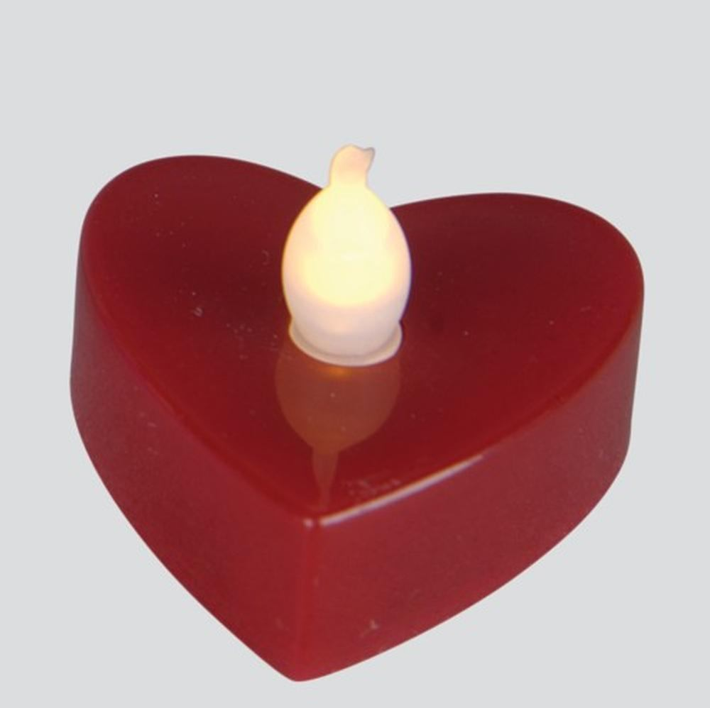 LED-Teelicht 3 Stück Teelichter Herz rot Best Season 066-17