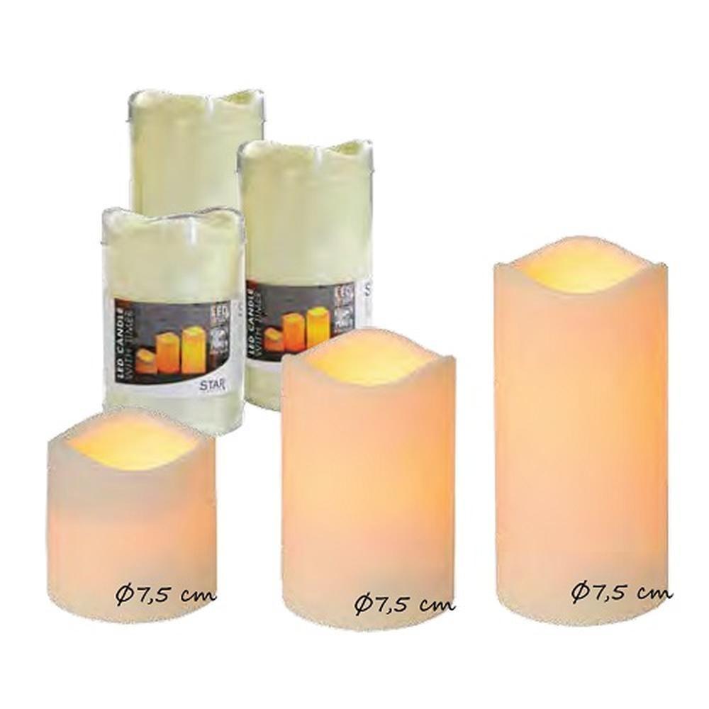 LED-Kunststoffkerze 15cm Batterie-Timer 8/16 Std an/aus aussen 067-29
