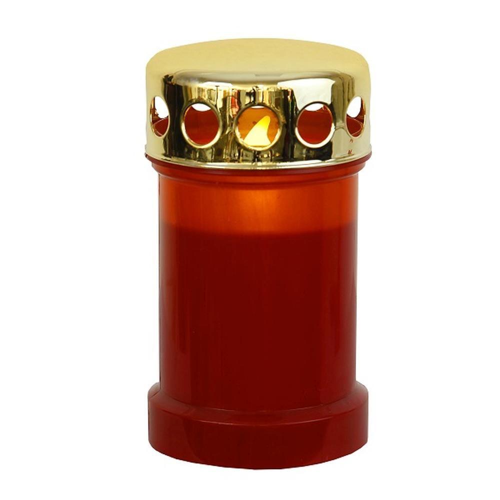 LED Grableuchte Grablicht Grablaterne Grabkerze 14cm rot / gold 067-58