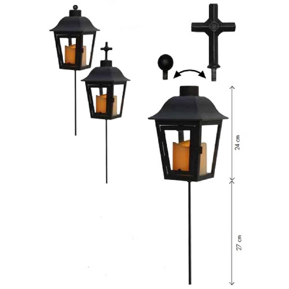 LED Grableuchte Grablicht Lichtsensor Wechselspitze schwarz außen 068-89
