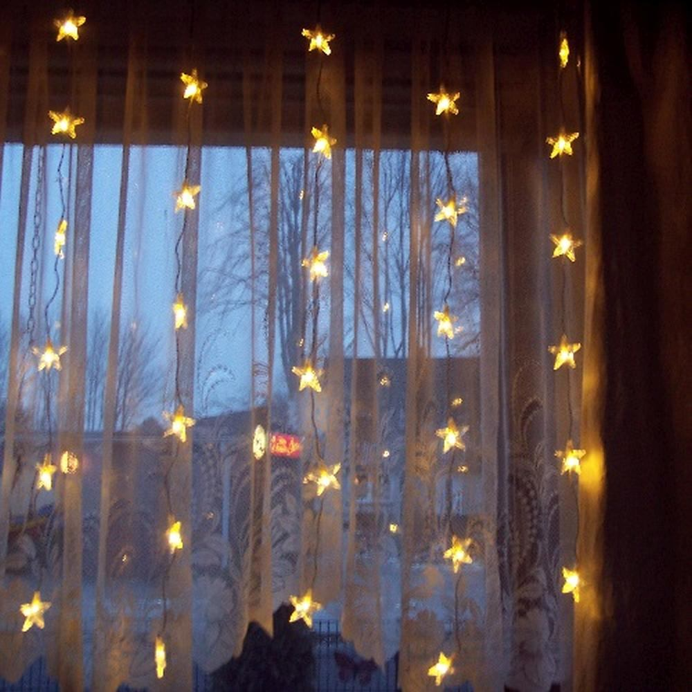 LED Lichtervorhang 30 Sterne 90x120cm warmweiß innen 2006-64 xmas