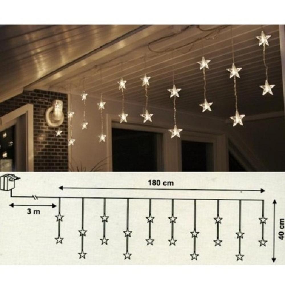 LED Lichtervorhang 20 Sterne 180x40cm warmweiß innen 2006-73 xmas