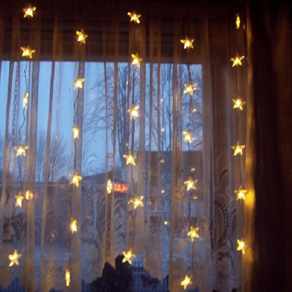 LED Lichtervorhang 30 Sterne 90x120cm warmweiß innen 2006-74 xmas