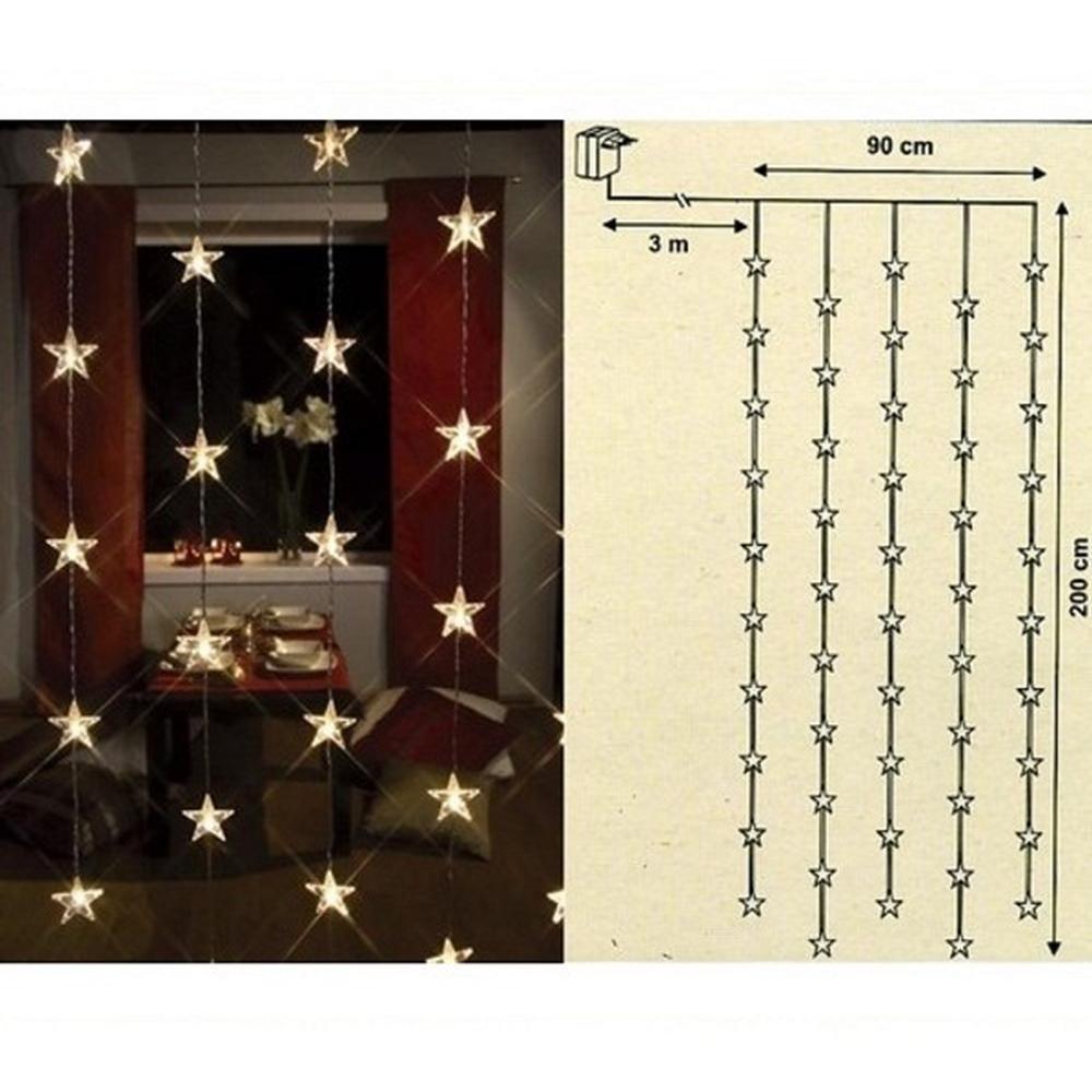 LED Lichtervorhang 50 Sterne 90x200cm warmweiß innen 2006-75 xmas