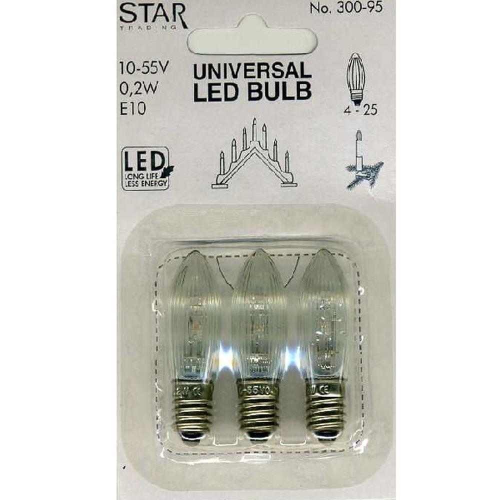 Universal LED Glühbirne E10 3er klares Glas 10-55V 0,2W 300-95