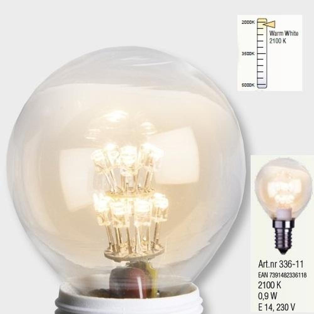 Decoration LED Glühbirne E14 2100K 75lm 230V warmweiß Leuchtmittel 336-11