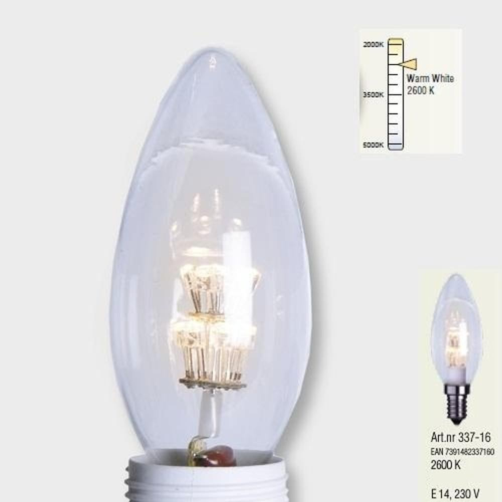 Decoration LED Glühbirne E14 2600K 230V warmweiß Kerzenform Leuchtmittel 337-16