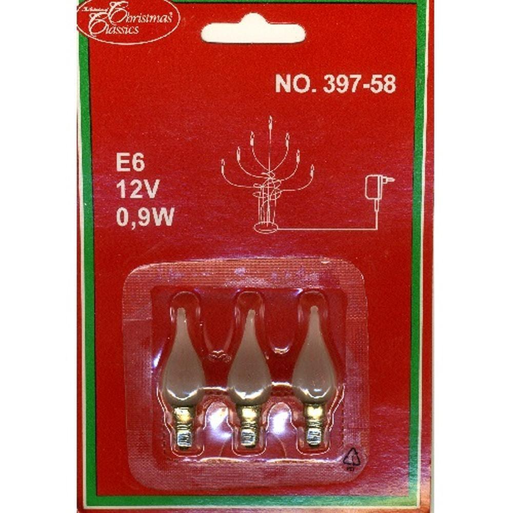 Glühbirne Windstoßkerze E6 3er satiniertes Glas 12V 0,9W 397-58