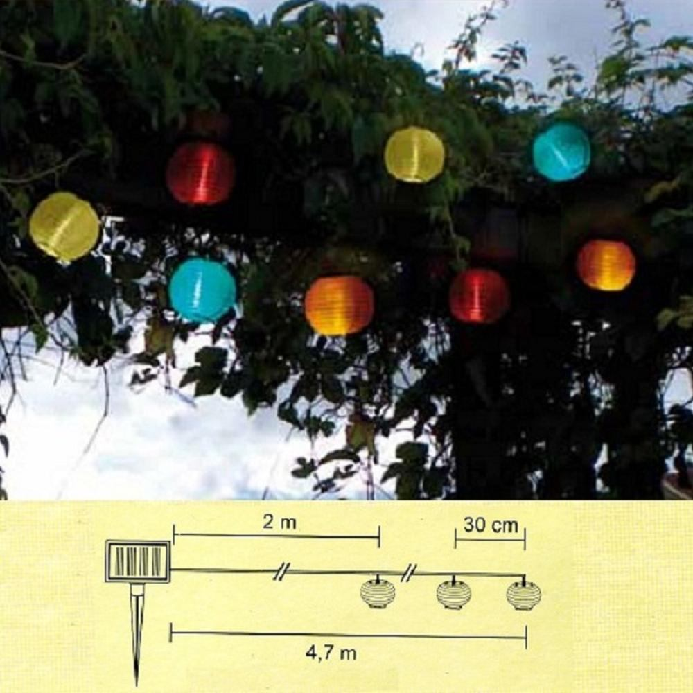 LED Solar Party-Lichterkette Lampion bunt 10er Best Season 477-14