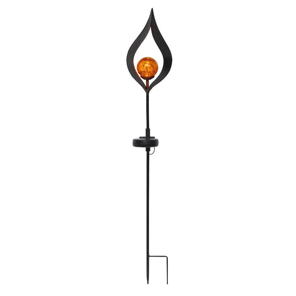 Solar LED Stehleuchte edel FLAMME Solarlaterne Garten-Laterne Fackel Dekoration