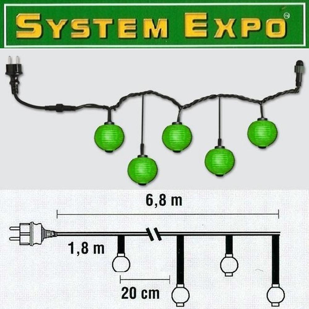 System Expo Partylichterkette Start Lampions grün 484-98-43