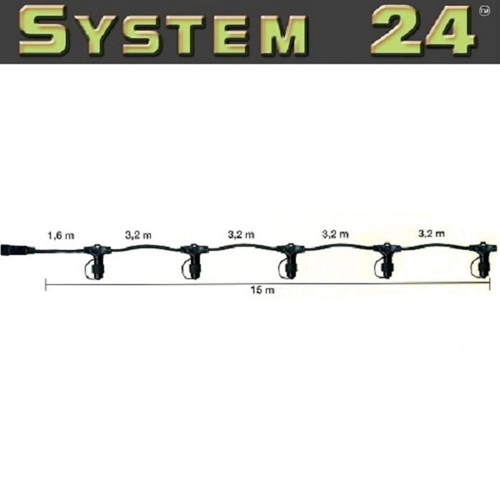 System 24 LED Verteilerkabel 15m extra schwarz 490-10 außen