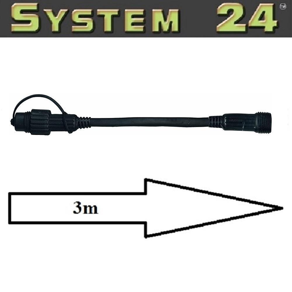 System 24 LED Verlängerungskabel 3m extra schwarz Best Season 490-31 außen