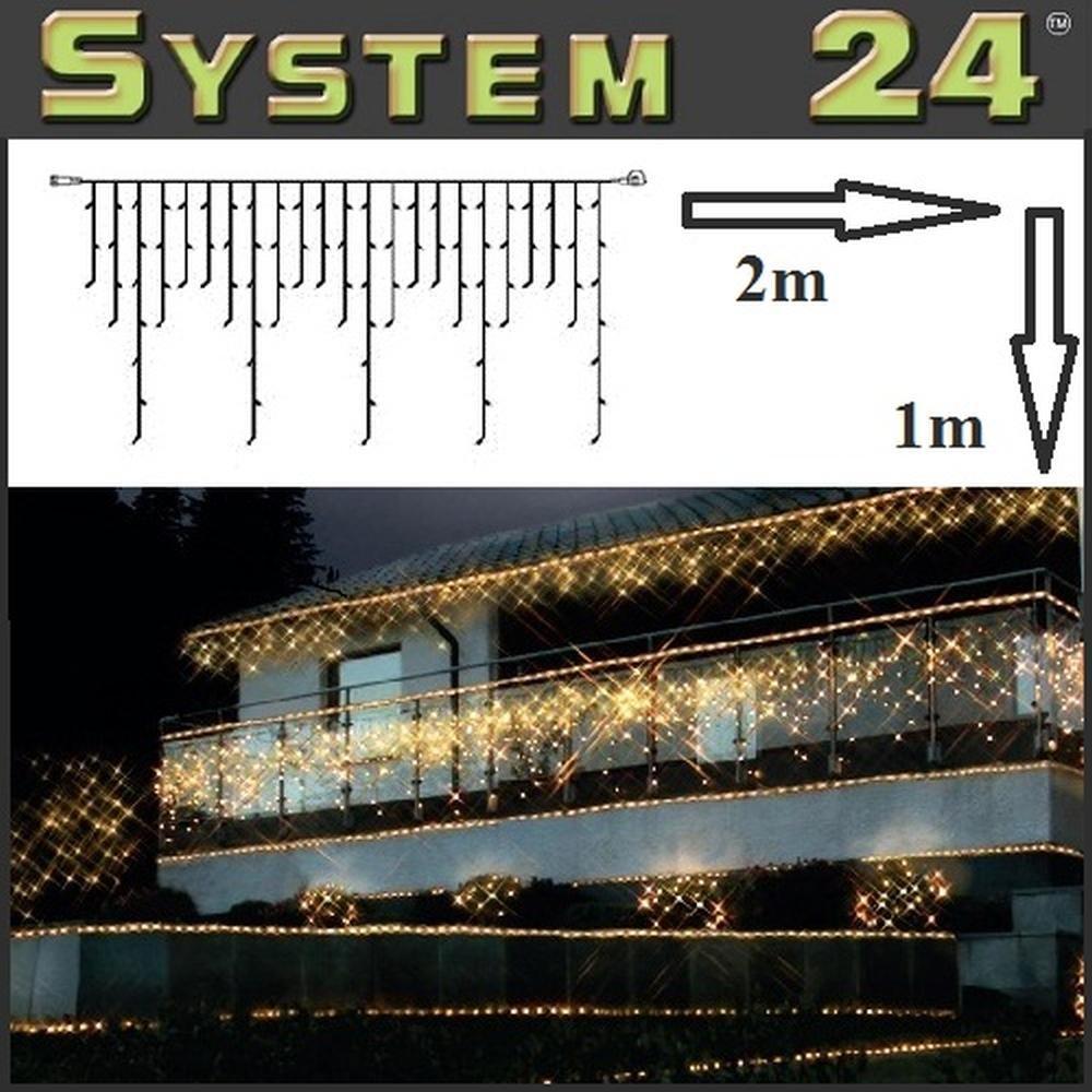 System 24 LED Eisregen-Lichterkette 98er extra 2x1m warmweiß 491-11 außen