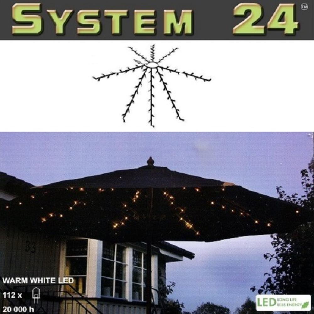 System 24 LED Sonnenschirm Lichterkette warmweiß Best Season 491-70 außen