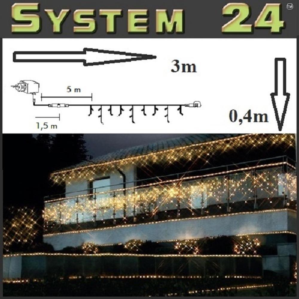 System 24 LED Eisregen-Lichterkette inkl. Trafo warmweiß 492-10