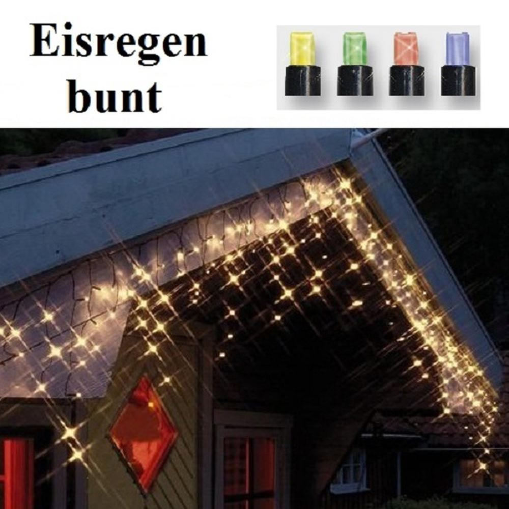 LED Eisregen Lichterkette 144er bunt / schwarz Best Season 498-51