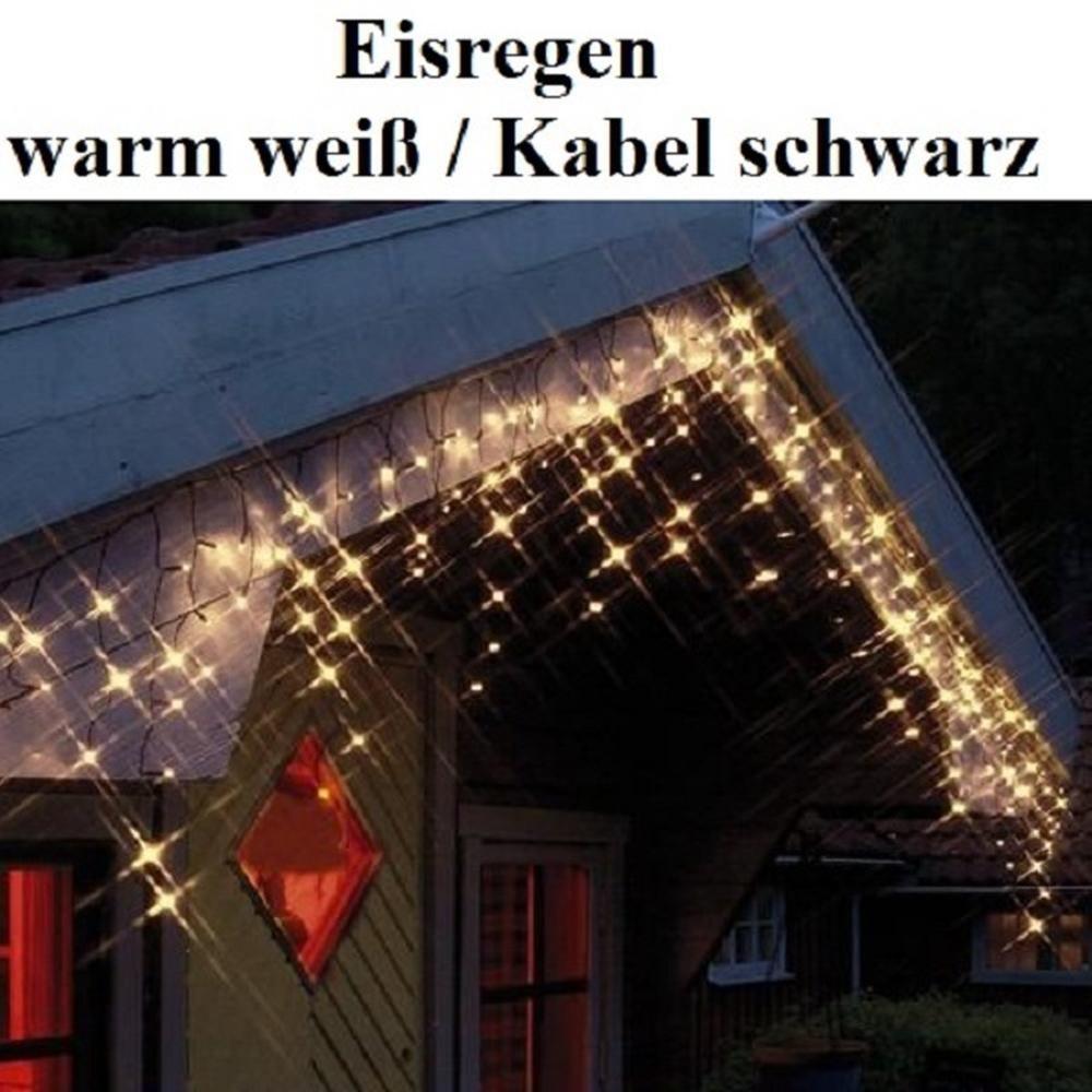 Led eisregen lichterkette 144er warm wei schwarz best for Eisregen lichterkette auayen