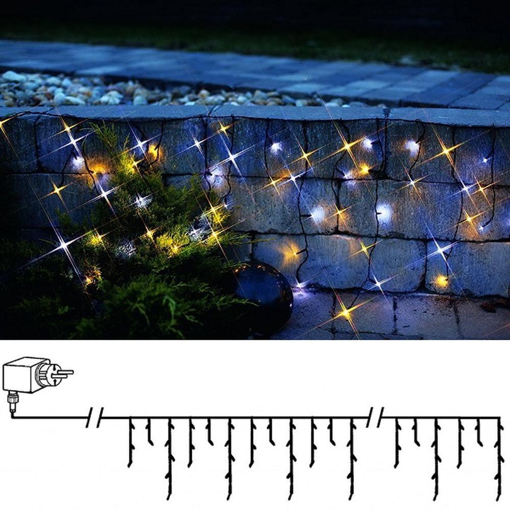 LED Eisregen Lichterkette 144er warmweiß-kaltweiß Mix / schwarz  498-57
