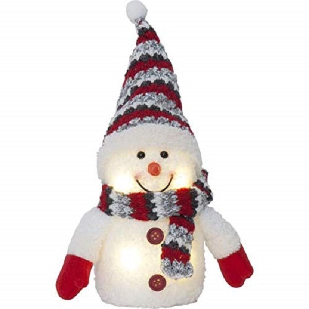 Schneemann Schal und Bommelmütze 25cm hoch 4 warmweiße LED 991-50 innen