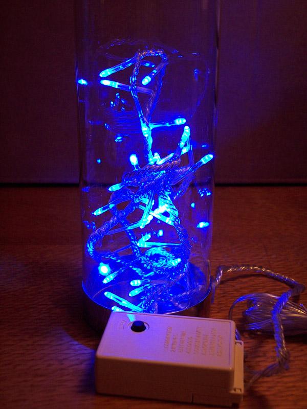 LED Lichterkette im Deko-Glas 32 Dioden blau innen