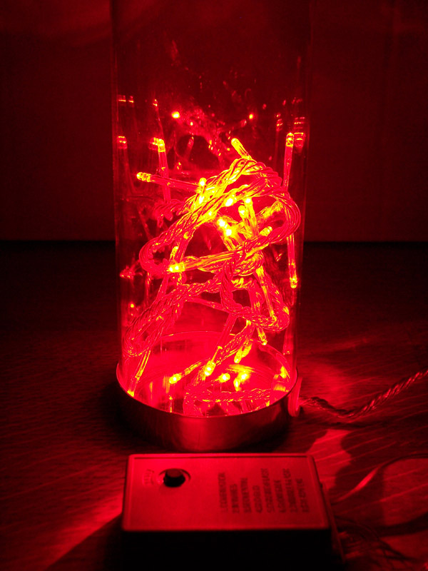 LED Lichterkette im Deko-Glas 32 Dioden rot innen