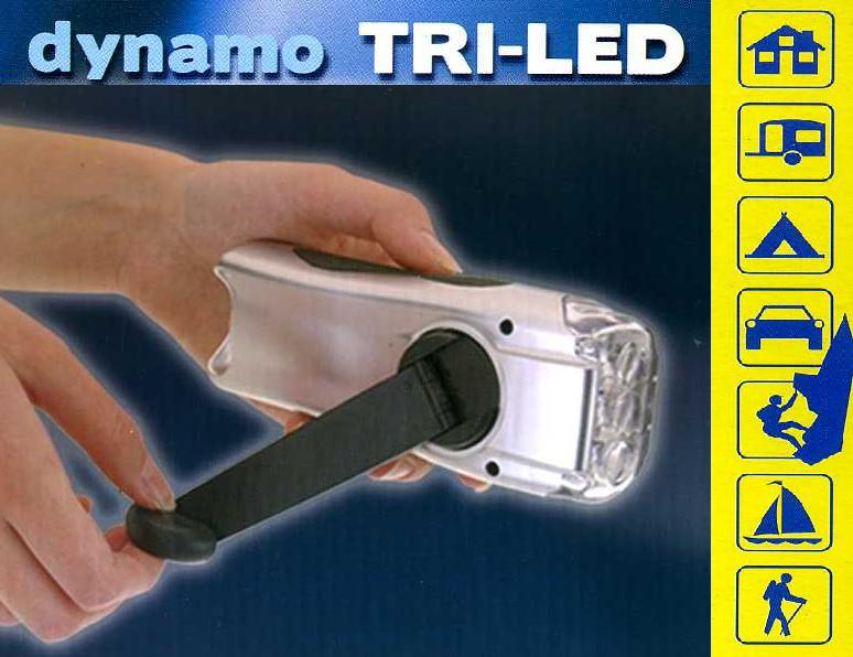 Dynamo Taschenlampe mit 3 LED Akku