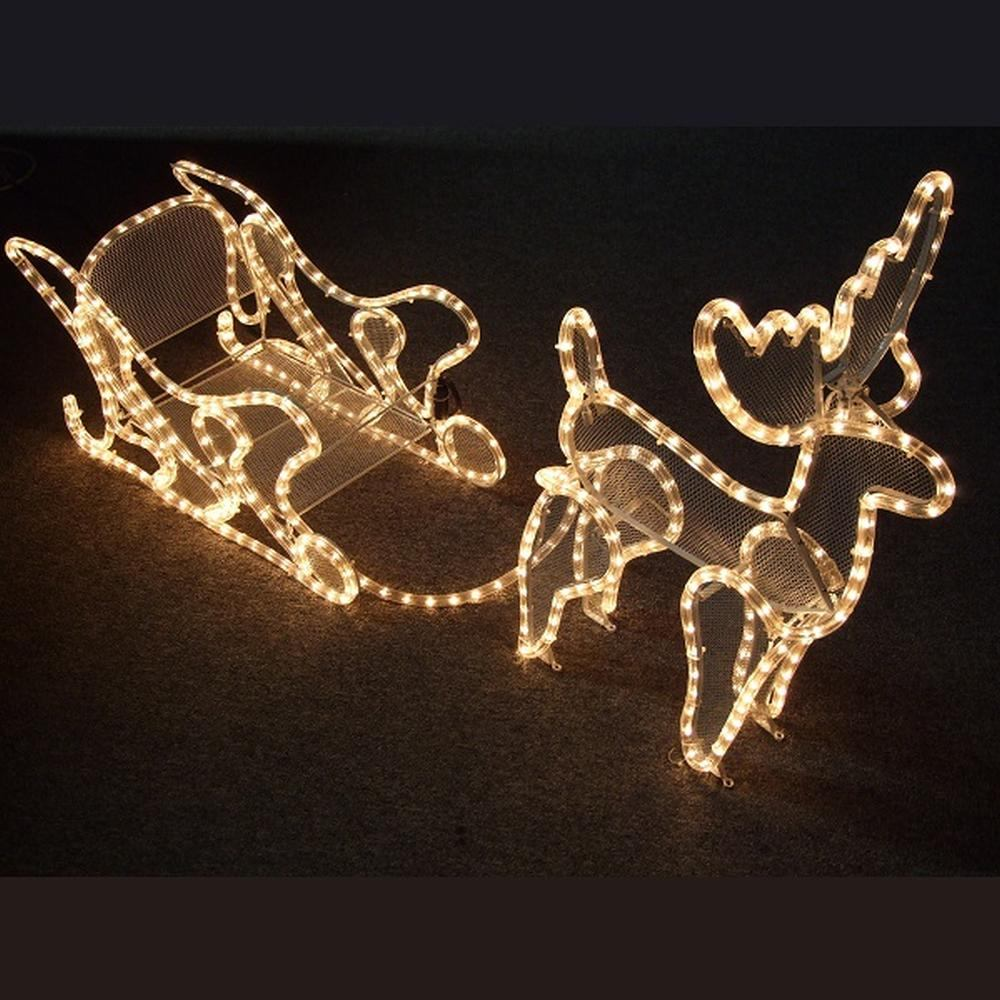 Weihnachtsbeleuchtung Außen Schlitten.3d Lichtschlauch Silhouette Rentier Mit Schlitten 58 X120cm Außen 04729 Xmas