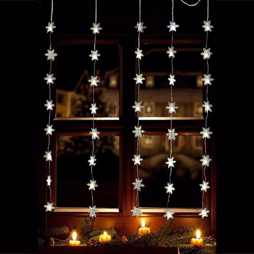 LED Lichtervorhang 40er Schneeflocke warmweiß 1x1,2m innen / außen 06020