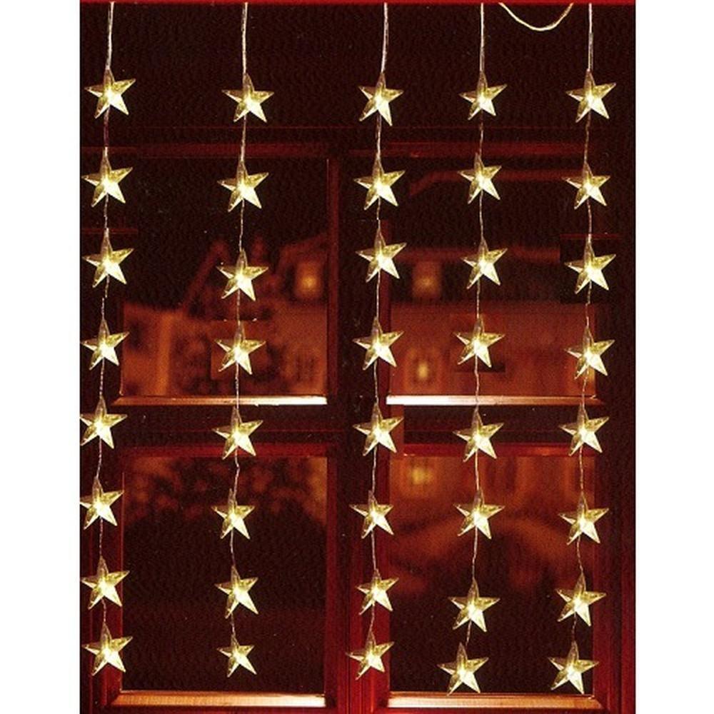 LED Lichtervorhang 40er Sterne warmweiß 1x1,2m innen / außen FHS 06044
