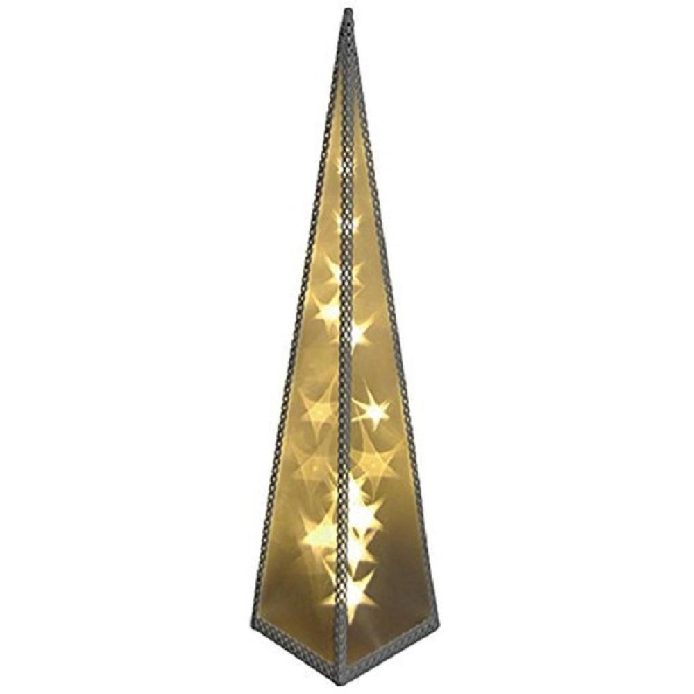 Hologramm-Pyramide Sterne mit Drehmotor 20er LED warmweiß innen 16821
