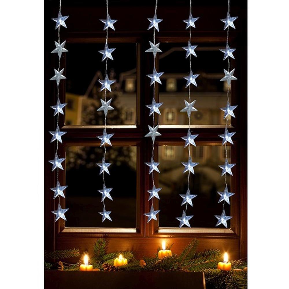 LED Lichtervorhang 40er Sterne kaltweiß 1x1,2m innen / außen 17187
