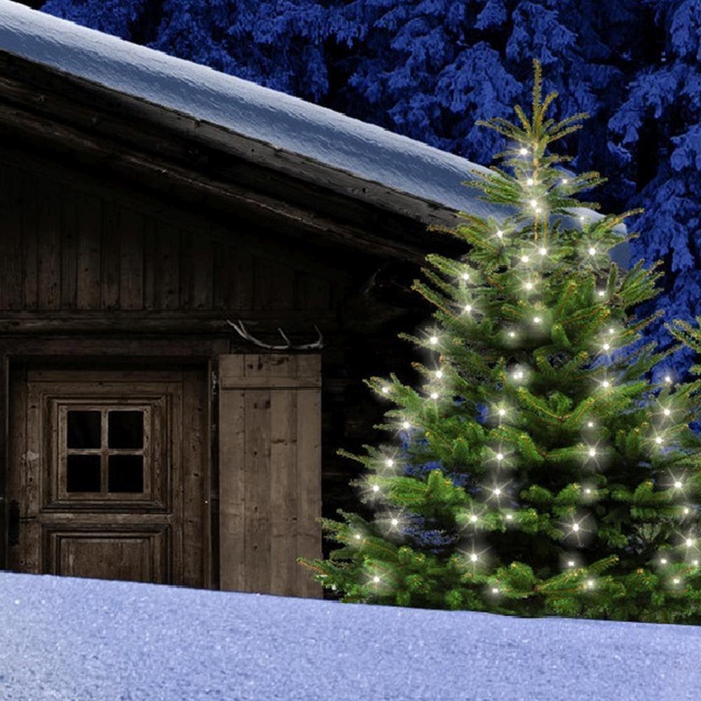LED Baumvorhang Lichterkette 160er warmweiß 8 Stränge - 2m Timer außen FHS 31169