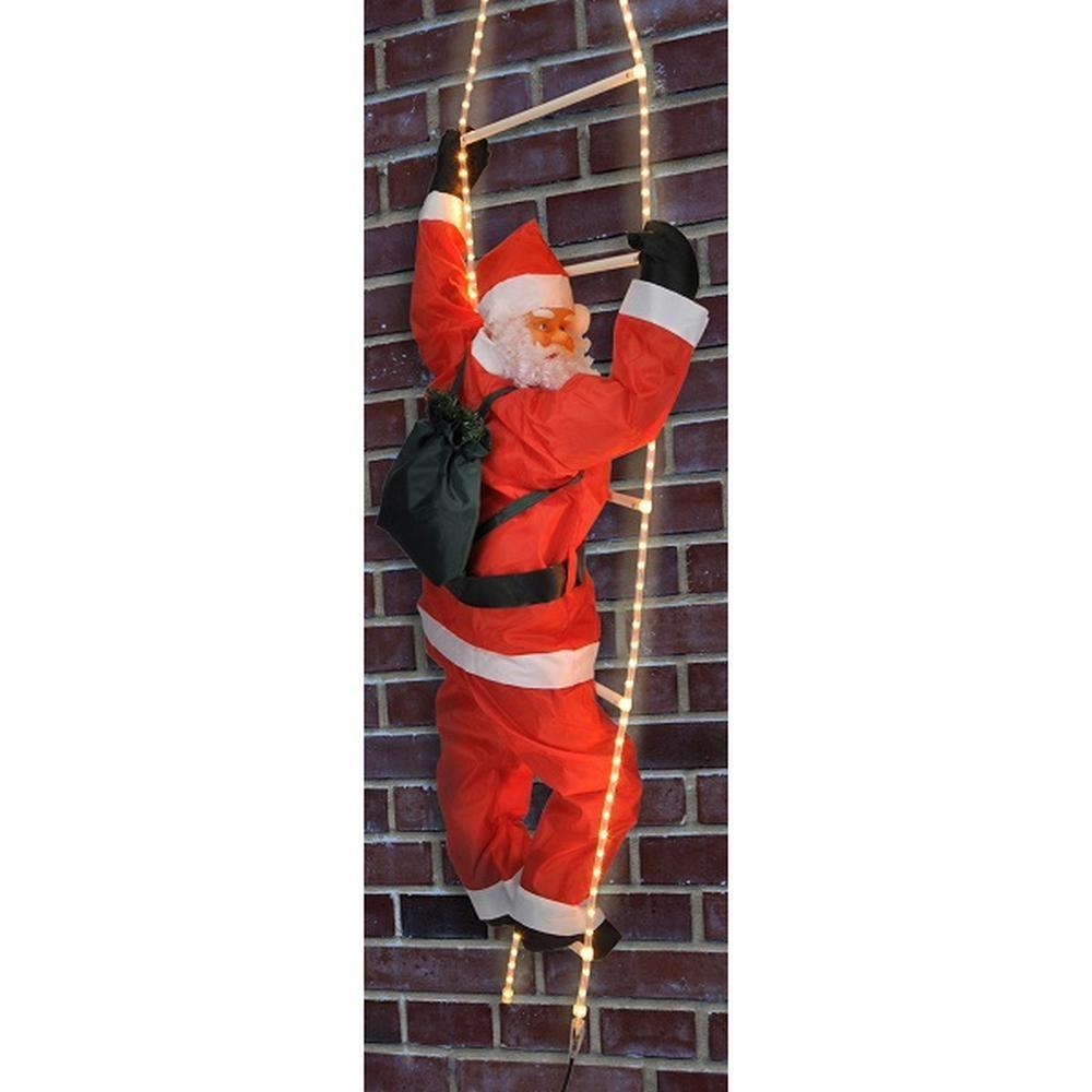 Weihnachtsmann auf Lichtschlauch Leiter beleuchtet HI 54115