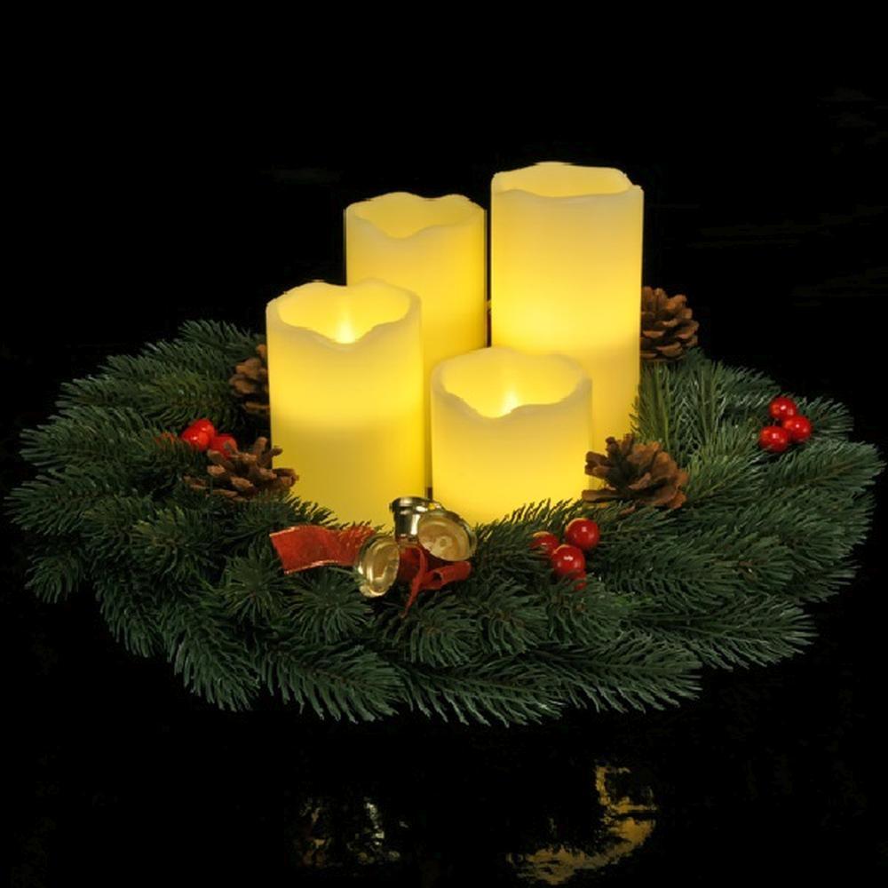 4er LED Echtwachs-Kerzen-Set weiß Fernbedienung  HI 55015