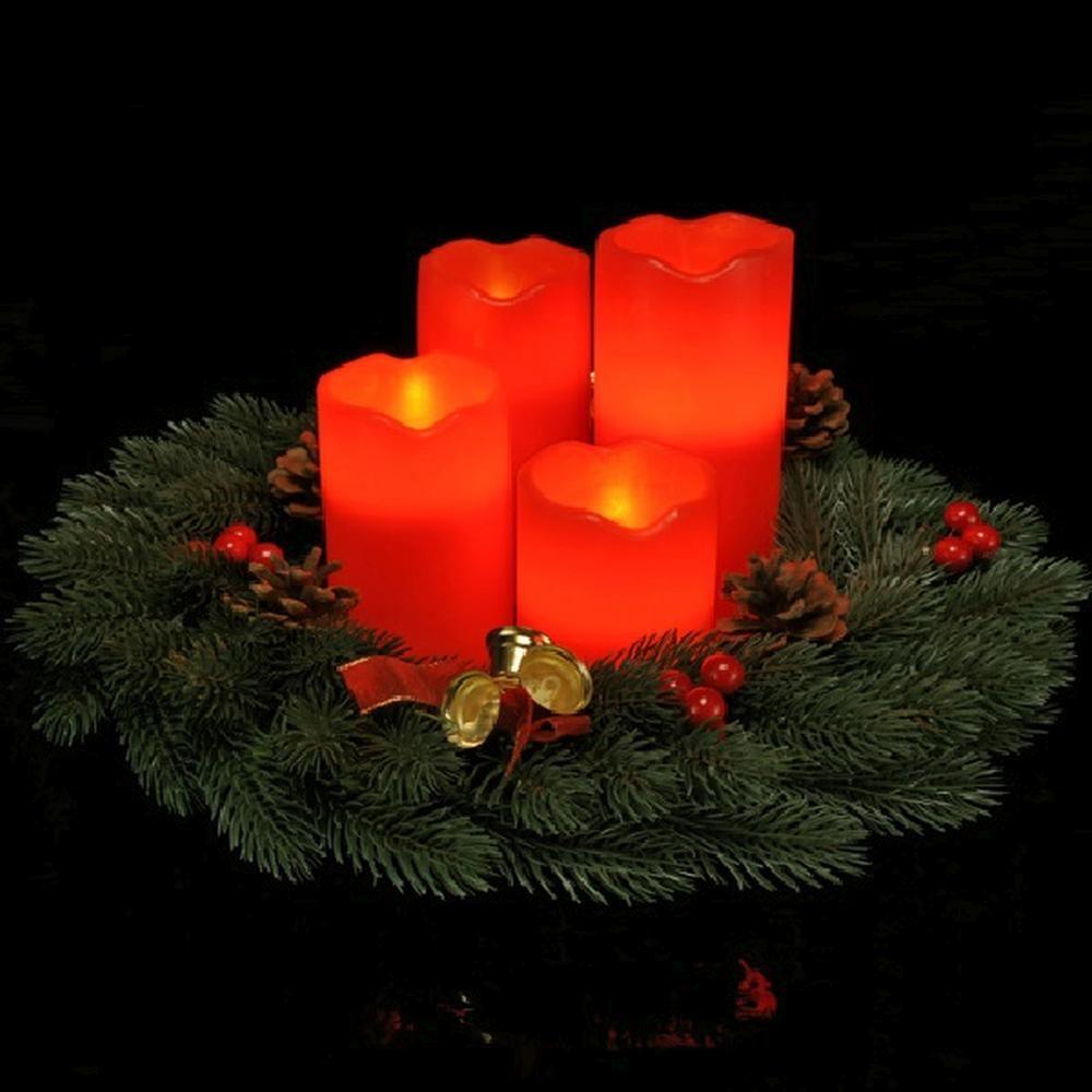 4er LED Echtwachs-Kerzen-Set rot Fernbedienung  HI 55016