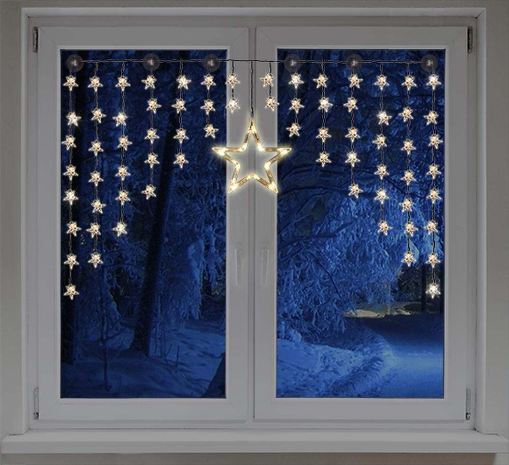 LED Lichtervorhang 32 kleine Sterne ein großer Stern 135x95cm innen HI 76045