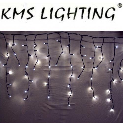 KMS LED Lichterkette Eisregen warmweiß-schwarz 100er 2x0,7m verlängerbar