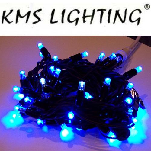 KMS LED Lichterkette blau-schwarz 50er 5m 10 blinkende verlängerbar