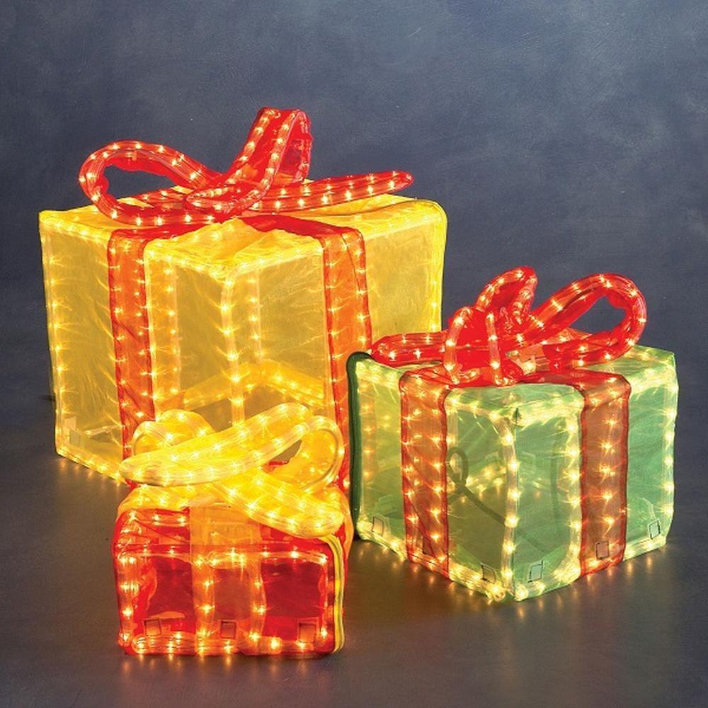 3D Lichtschlauch Silhouette Geschenkwürfel bunt Konstsmide außen 2214-500