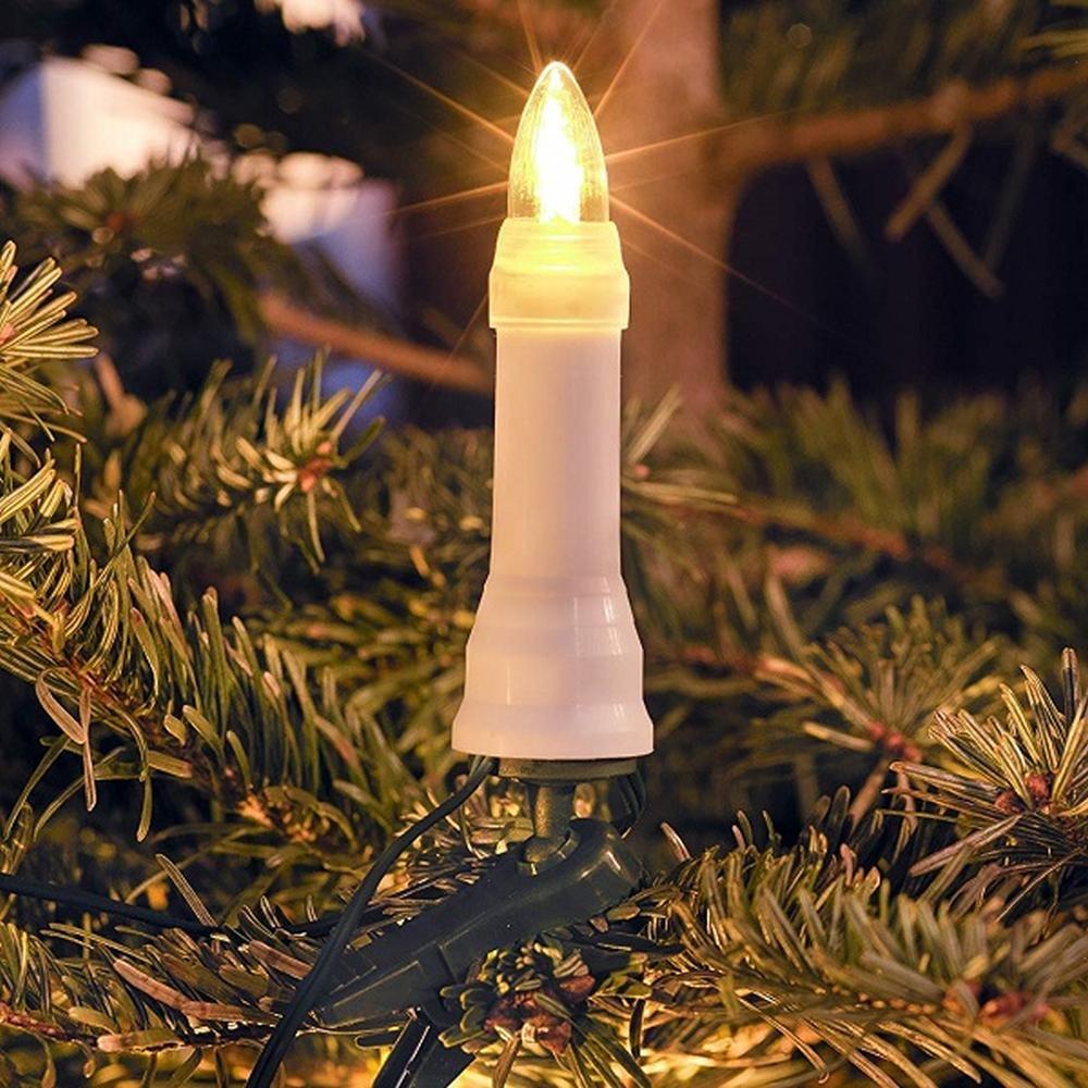 LED Weihnachtsbaumbeleuchtung 16er warmweiß außen ein Strang 12m 1013-020