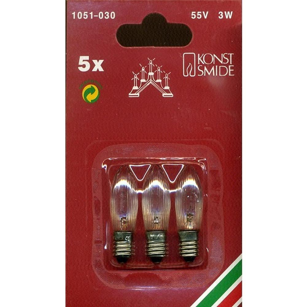 3er Ersatzbirnen für 5er Leuchter klar 55V 3W E10 1051-030