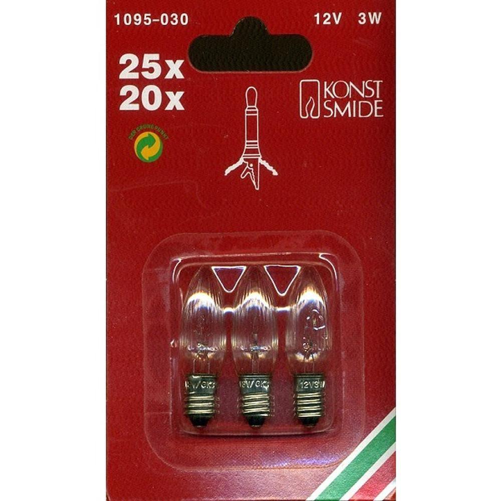 3er Ersatzbirnen für 25er / 20er Lichterkette klar 12V 3W E10 1095-030