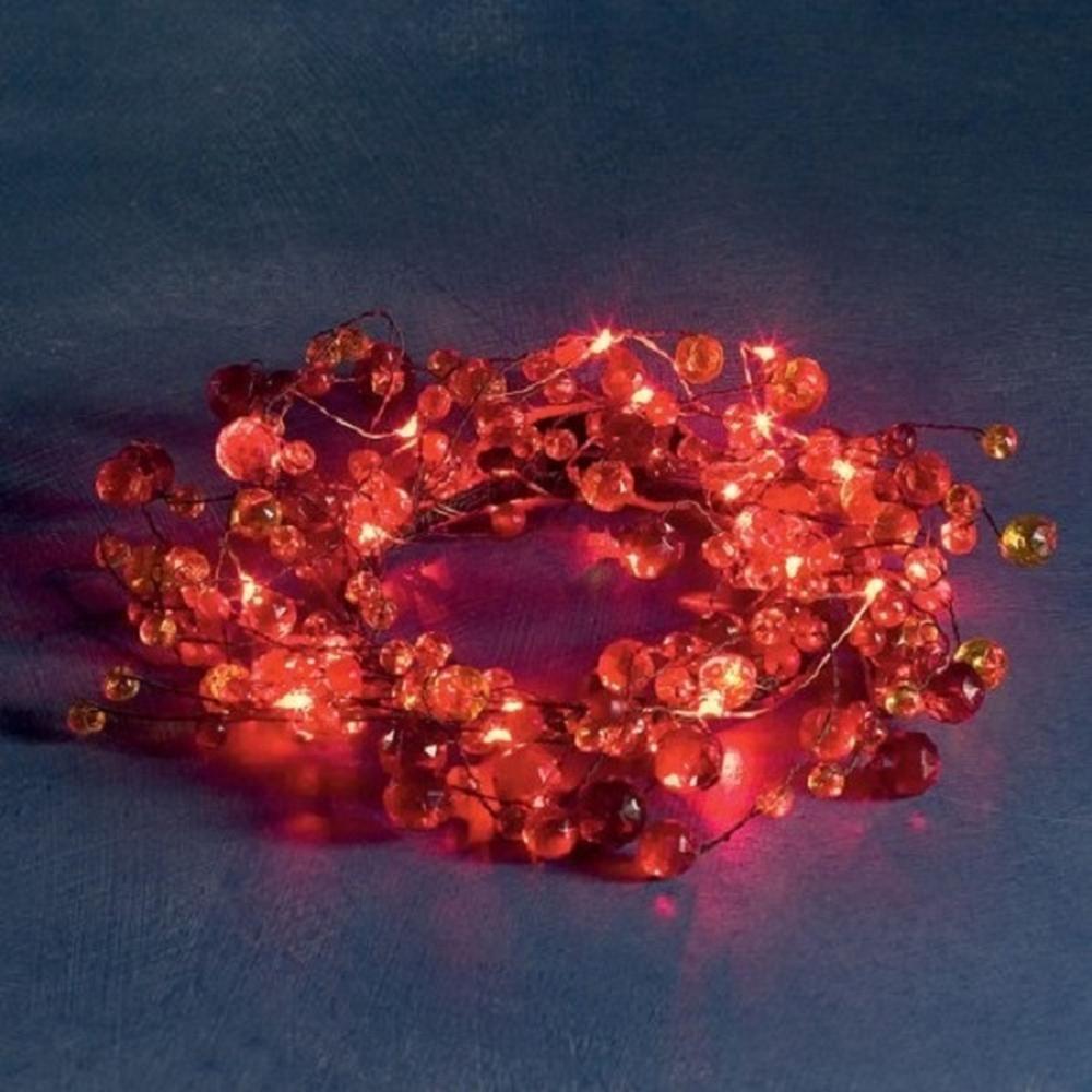 LED Dekorkranz rot 20er Lichterkette innen Batterie Konstsmide 1266-550