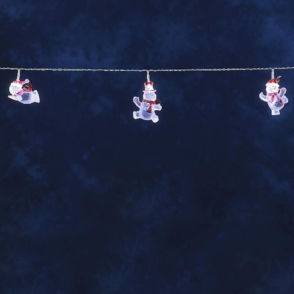 LED Dekolichterkette Schneemänner 8 kaltweiße Dioden innen Konstsmide 1299-203