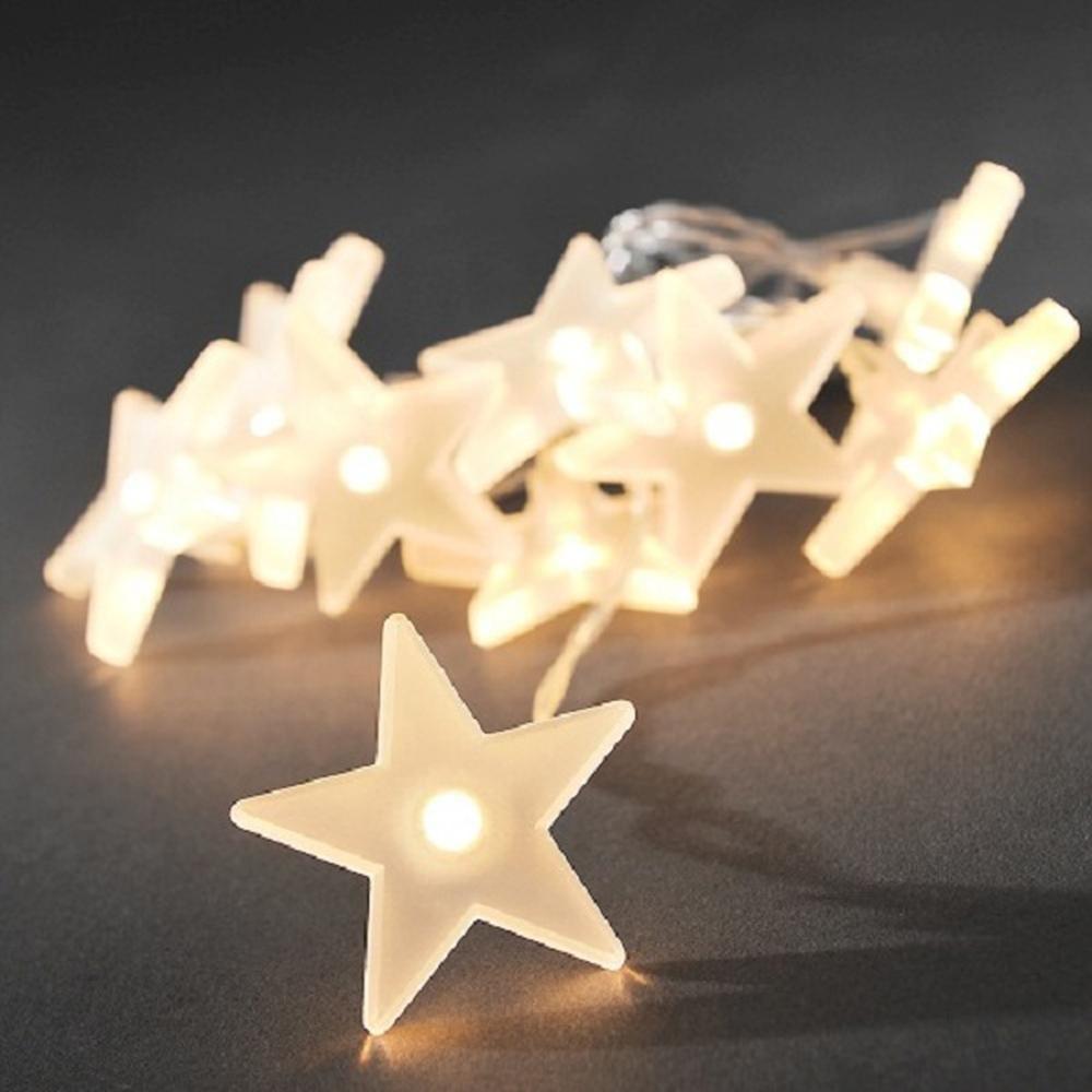 LED Deko Lichterkette 10er Sterne Batterie gefr. warmweiss 1405-133